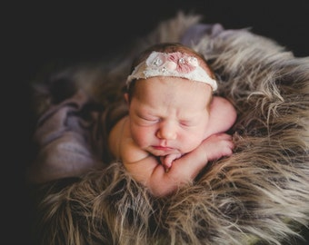 SALE, RTS Vegan Faux Flokati Fur, Mousse Faux Sheepskin Fur Newborn Photo Prop, Baby Photography Props, Gray Fur, BaSkeT StuTfeR, Flokati