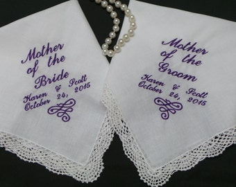 Wedding Handkerchiefs Hankies Mother of the Bride, Mother of the Groom, Father of the Bride or Groom Personalized with names and date.
