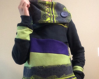 TOXIC SLIME - Hoodie Sweatshirt Sweater - Recycled Upcycled - One of a Kind Women - SMALL