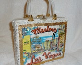 Vintage Pinup Girl Las Vegas Wicker Straw Lucite Purse Bag Rockabilly 1950s Princess Charming Atlas White VLV
