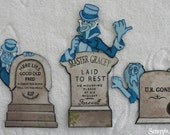 DISNEY Haunted Mansion Set of Hitchhiker Ghosts w/ Tombstones - Scrapbook Page Paper Piece Piecing - SSFF