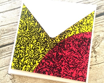 6 African cards READY TO SHIP African cards greeting. African wax print card set with envelopes, Bright