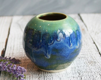 Round Blue and Green Handmade Vase Stoneware Ceramic Wheel Thrown Pottery Vase Ready to Ship Made in USA