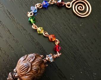 Carved Lotus Flower Wooden Bead Chakra Rainbow Colors Dowsing Divination Healer Charged Pendulum