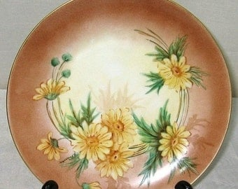 ON SALE Vintage HP Handpainted Daisy Floral Plate Hutschenreuther Selb Bavaria Germany Emma Vomacka