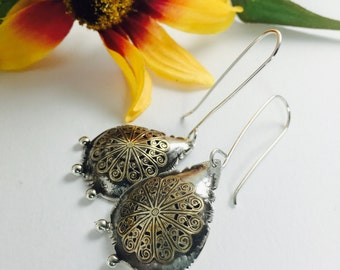Sterling Silver and Brass Earrings - Made to Order