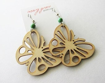 Natural Wood and Green Magnesite Stone Butterfly Earrings