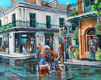 Grandpa Elliott, Corner of Toulous and Royal Streets, Playing for a Change, French Quarter Music Art, New Orleans Art - 'Grandpa's Corner'