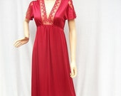 50% Off Sale 70s Spicy Red Nightgown size Small BARAD Jrs.  Lacey Sexy Gown