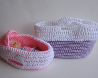 Baby Doll Cradle Purse in Pink or Purple