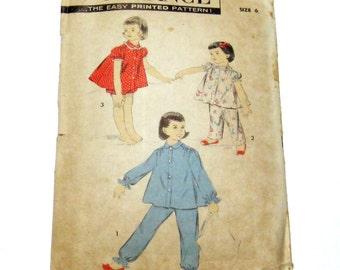 1950s Girls Pajama Pattern: 50s Girls Pajamas, Advance 8224