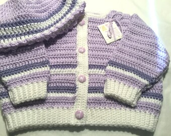 Girls Baby Sweater Crocheted with Lavender Giraffe Buttons