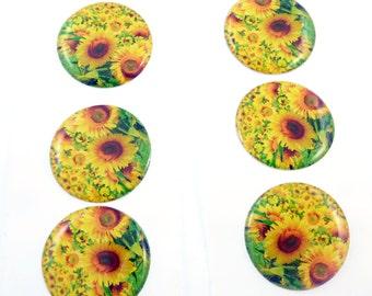 "6 Handmade Epoxy Stickers.  Yellow Sunflower Stickers 1"" or 25 mm Round."