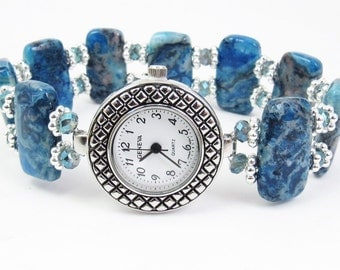 Beaded Bracelet Watch - Blue Crazy Lace Agate and Blue Faceted Crystal Glass Stretchy Bracelet Watch