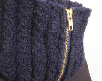 Dark Blue Zippered Cowl