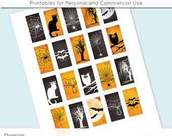 Halloween 1x2 Domino Collage Sheet Digital Images for Domino Pendants Magnets Scrapbooking Journaling JPG D0030