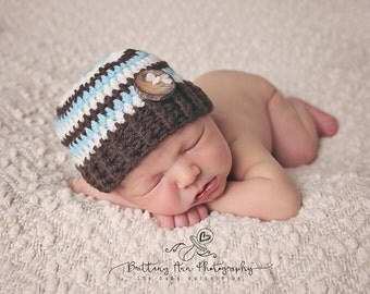 Brown,Blue and Ivory Newborn Striped Beanie, 0 to 3 month Striped Baby Boy Hat