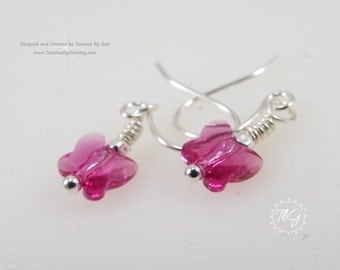 Swarovski Crystal Earrings Butterfly - Crystal Butterfly Earrings - Swarovski Crystal Butterflies · Fuschia Butterflies · Gift for Her