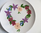 Salad Plate, heart wreath, hand painted floral, Peach Roses, Purple, Rose flowers, earthenware pottery
