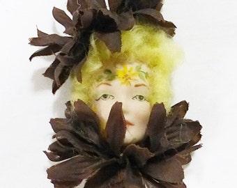 Vintage ceramic woman face brooch pin