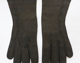 Vintage hansen women dress gloves brown size 6 1/2 mid length