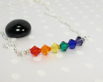 LGBT Rainbow Pride Flag - Gay Pride - Lesbian - Crystal Pride Flag - Pride Jewelry - Handmade Necklace