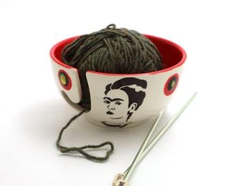 Frida Kahlo Yarn bowl , Frida Kahlo ,  knit bowl , crochet bowl , small knitting bowl , yarn storage, gift for artist and maker