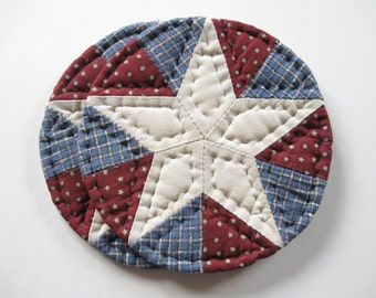 Patriotic Decor Fabric Coasters Quilted Candle Mat Americana Decor Country Home Decor Red White and Blue Rustic Home Decor Quilted Coasters