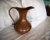 RESERVED MICKEY Antique Arts & Crafts Solid Copper Pitcher Ewer