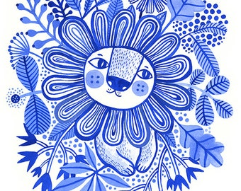 Lion Blues... - limited edition giclee print of an original watercolor illustration (8 x 10 in)