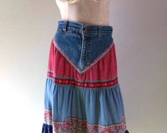 """Vintage 1970s Boho Denim Skirt - Rose Hips Jeans by ESPRIT - 27"""" to 28"""" waist Calico Print Cotton - South of France Rockabilly Hippie Vibe"""