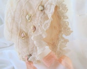 Lovely Vintage Silk and Lace Baby Doll Bonnet