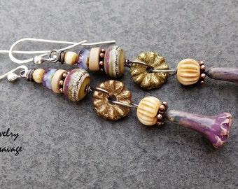 Long Boho Chic Gypsy Glass and Ceramic Flower Pod Earrings, Purple Lavender Copper Mixed Metal Bone and Czech Glass Earrings