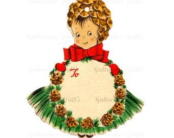 Super Cute Pinecone Girl Christmas Gift Tag Image Digital Download vintage holiday xmas christmas card vintage 1950s ornament present pine