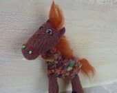 Horse -  tiny hand sewn toy, brooch for children,  small plush  animal toy