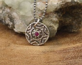 Silver Star Of David Pendant with Genuine Ruby - Artisan Made from Antique Button - Eco Friendly Fine Silver with Ruby Gemstone