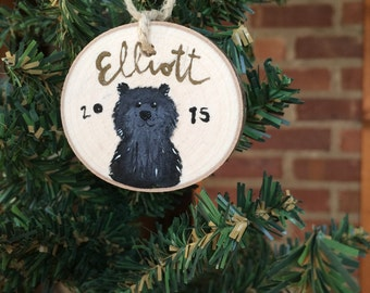 Christmas Ornament - Hand Painted Custom Tree Ornament - Black Bear Woodland - Personal Message - Holiday Decoration Home Decor Present Gift