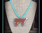 Herefor Cattle Pendant With Glass Seed Bead Necklace