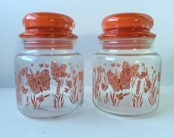 Glass Storage Jars, Orange Butterflies and Flowers, Set of Two