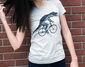 Alligator on a Bicycle T Shirt -  Bike Shirt Ladies American Apparel - Size S, M, L, and Xl