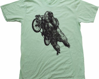 Gorilla on a BMX bike - Lime Green Mens American Apparel Shirt