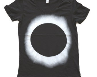 womens PLANET earth eclipse LADIES t shirt xs S M L Xl xxL (Black)