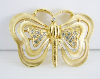 Vintage Monet gold butterfly brooch with clear crystals (G9)
