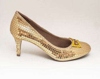 Sequin | Gold 3 Inch High Heels Pumps with gemstone bow by Princess Pumps