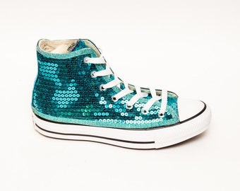Sequin | Jade Blue Canvas Converse High Top Sneakers Shoes