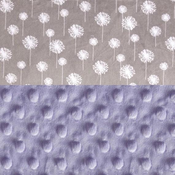 Personalized Baby Blanket For Girl/ Minky Baby Blanket / Gray Lavender Flower Blanket // Dandelion Blanket // Soft Baby Blanket