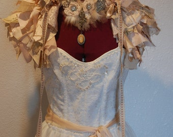 Up cycled wedding tatered Victorian inspired costume halloween dress tulle tattered modern fashion with wrap bow and necklace