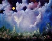 Angel Moon, Original Angel Art, Full Moon, Flower Garden by Marina Petro