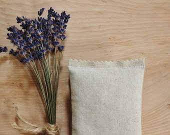 Organic Lavender Sachet - Natural or White Linen - Scented Drawer Sachets - Gifts for Women