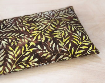 Lavendar Eye Pillow - Tension Headache Relief - Boho Chic Batik Pillow - Aromatherapy Flax Pillow